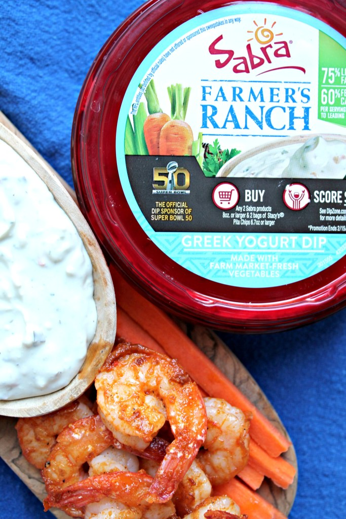 Healthy Buffalo Shrimp with Blue Cheese Ranch Dip