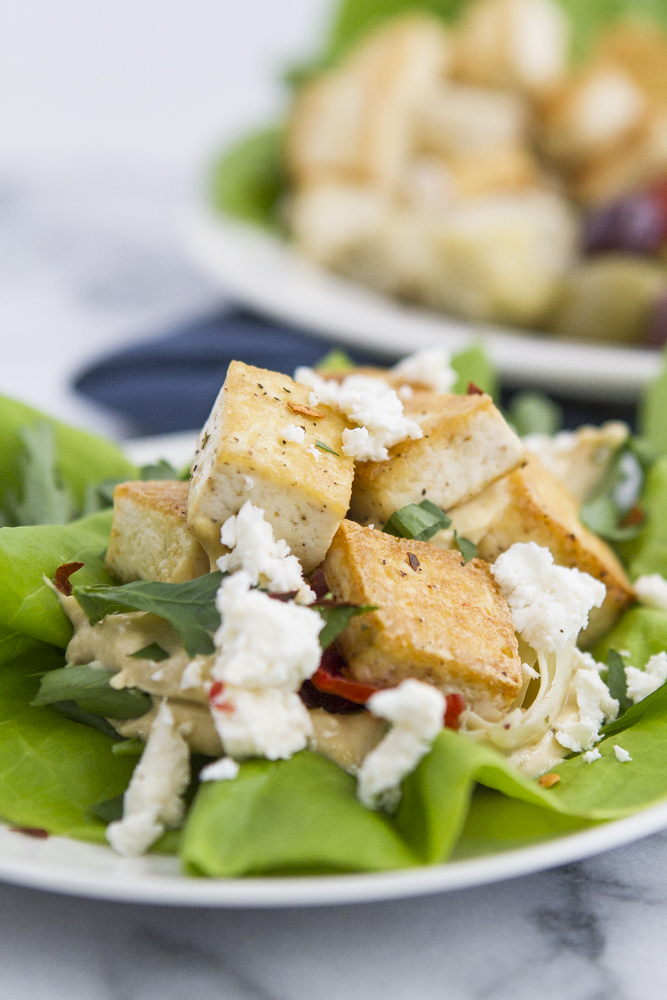 Mediterranean Tofu Hummus Lettuce Wraps