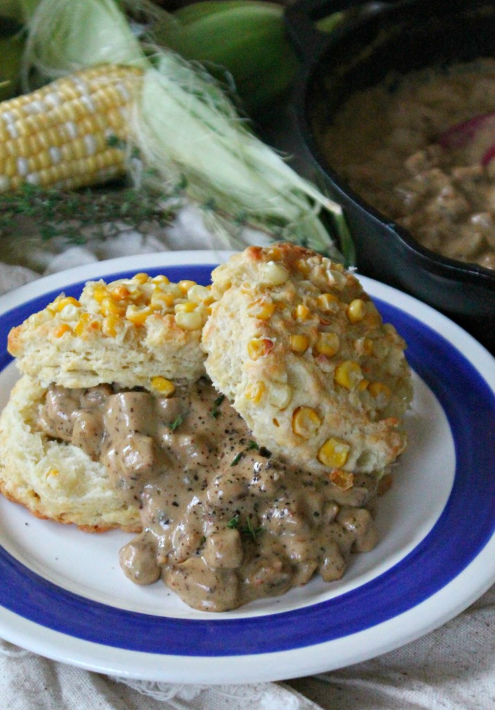 Spicy Chicken Sausage Gravy & Sweet Corn Biscuits 05
