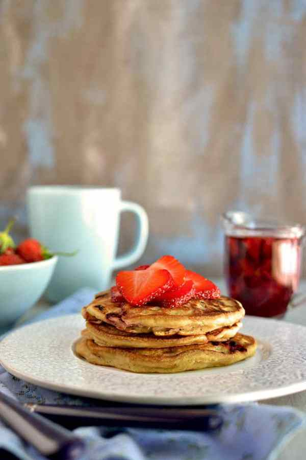Strawberry-Chocolate Chip Pancakes with Strawberry Maple Syrup