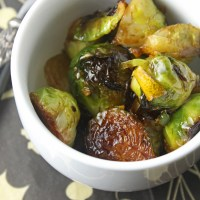Sautéed Brussels sprouts with caramelised garlic, lemon & chilli