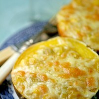 Gem squash with a cheesy spicy creamed sweetcorn filling