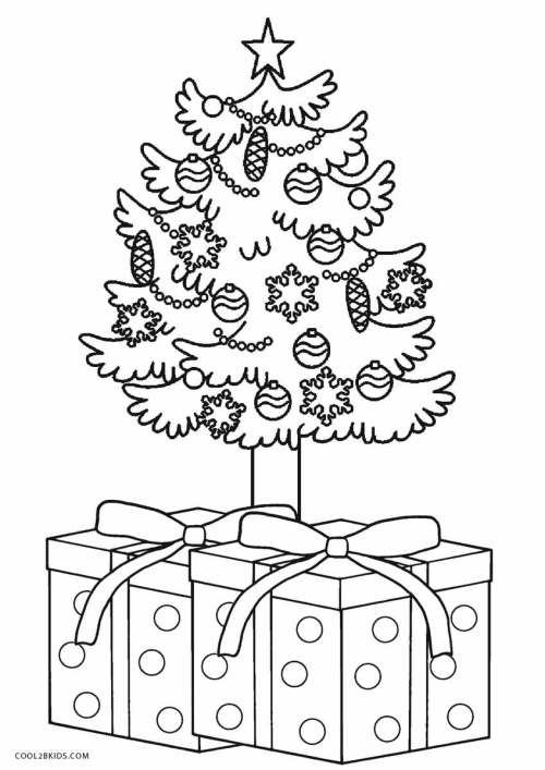 Medium Of Christmas Tree Coloring Page
