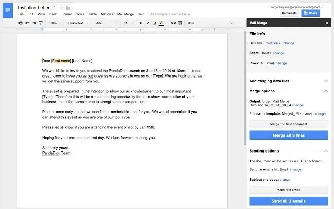 Google Drive Document Merge
