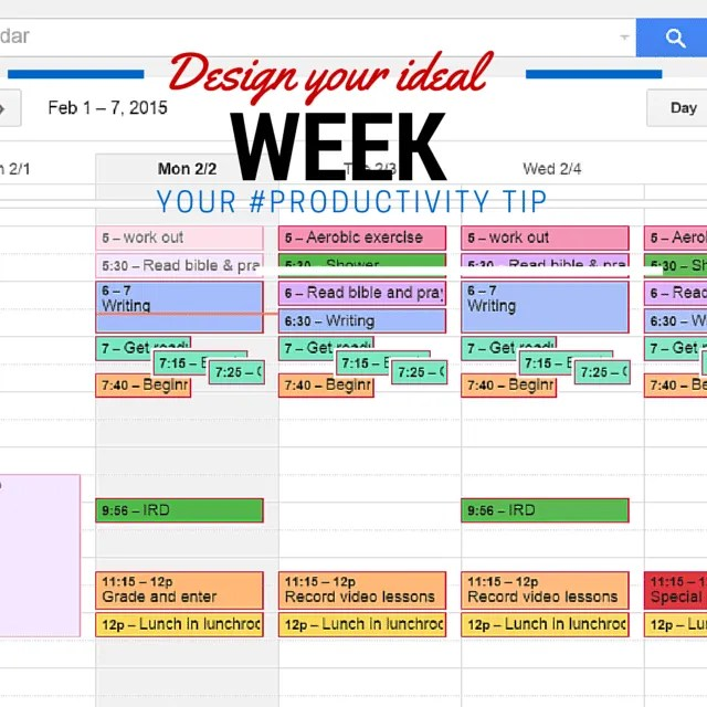 design your ideal week to be more productive
