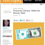 Financial literacy can be taught. A screenshot of Vicki Davis' full blog post on Edutopia.