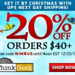 20% Off at Think Geek for the last minute shoppers