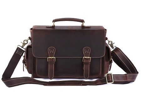 S-Zone Vintage Leather DSLR Camera Messenger Bag
