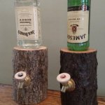 The Log Liquor Dispenser gives a natural feel to drinking