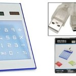 Solar Power Electronic Calculator Blue with 4 Port USB 2.0 Hub