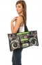 The Ghetto Blaster Tote features working speakers