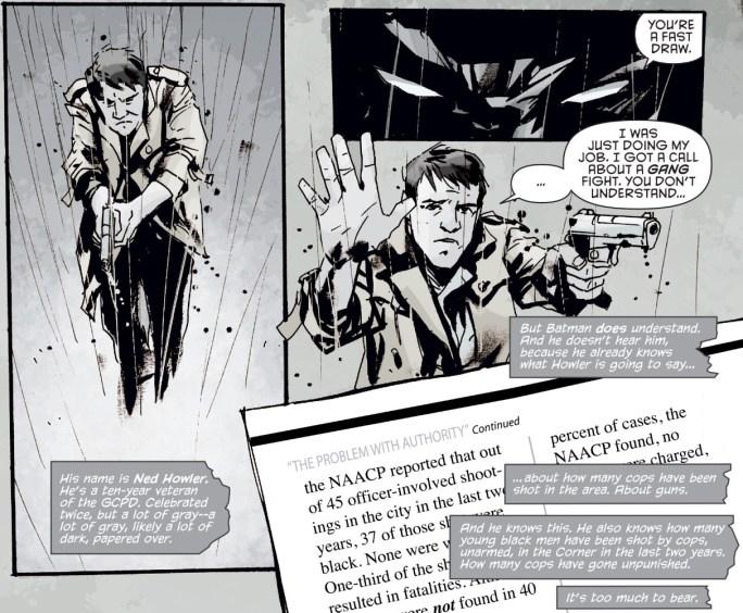 Batman confronts cop over shooting of an unarmed black teen