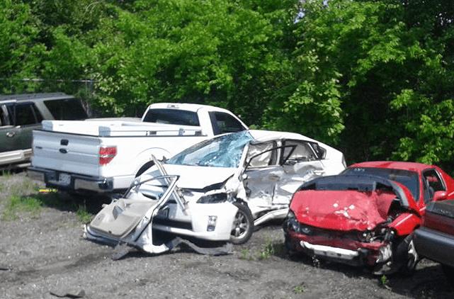 Crittsinger's wrecked Prius at the junkyard