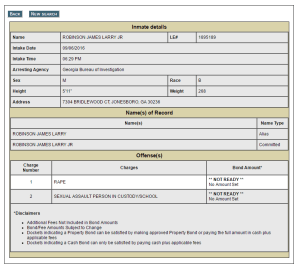 Jail Records For Officer Robinson Jr.