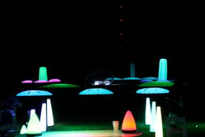 playing night golf at the cosmic driving range