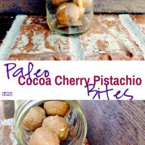 Paleo and Vegan Cherry Cocoa Pistachio Energy Bites
