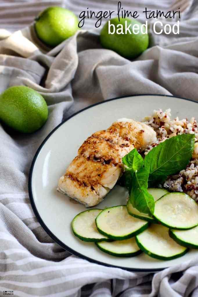 Ginger lime tamari gluten free baked cod cotter crunch for Baked fish seasoning