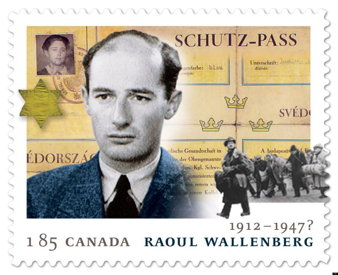 The Raoul Wallenberg stamp, released by Canada Post on Thursday January 17, 2013, is shown. Wallenberg is credited with saving at least 20,000 Jews in Budapest during the Second World War by giving them Swedish travel documents, or moving them to safe houses. THE CANADIAN PRESS/HO