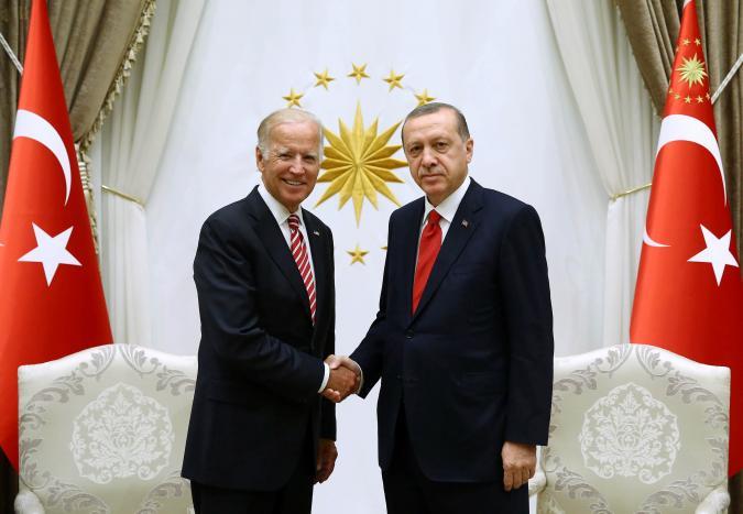 Turkish President Erdogan meets with U.S. Vice President Biden at the Presidential Palace in Ankara