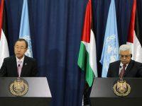 UN General Secretary Ban Ki-moon (L) and Palestinian President Mahmoud Abbas (R) during a joint press conference at Abbas' headquarters in the West Bank town of Ramallah, 15 August 2013. Ban Ki-moon visits the region to offer support to the difficult peace negotiations between Palestinians and Israel. His agenda includes talks in Jordan, Israel and the Palestinian Territories. Photo by Issam Rimawi/FLASH90 *** Local Caption *** áàï ÷é îåï îçîåã òáàñ øîàììä ôìùúéðé ôìùúéðàé