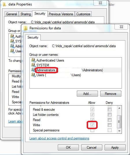 CS Data Directory Permissions Windows Server