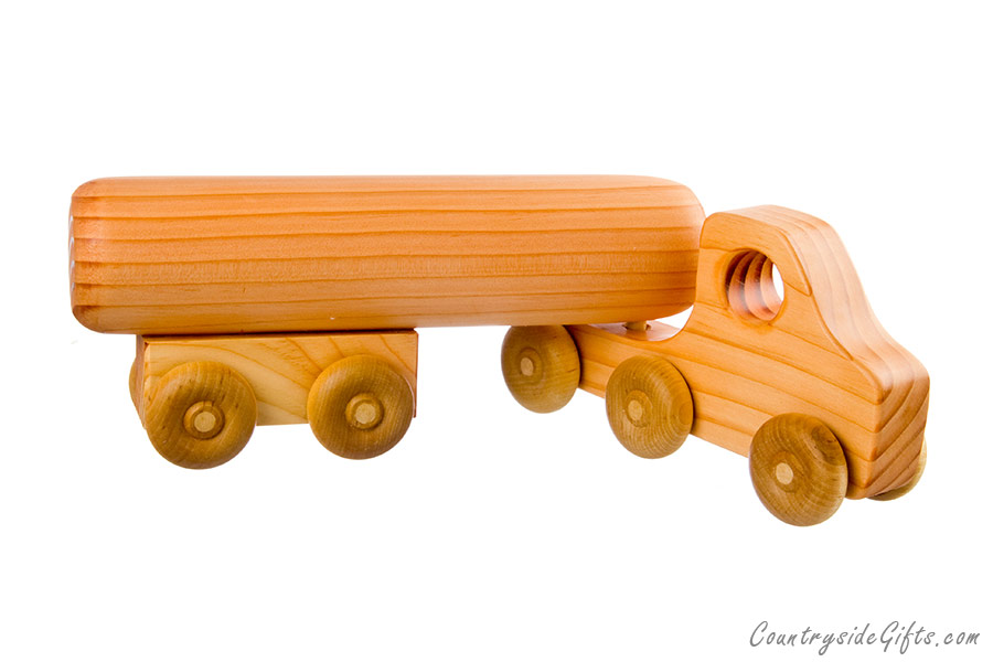 Semi Truck That S Also A Toy Car Holder : Wooden toy semi truck with tanker trailer countryside