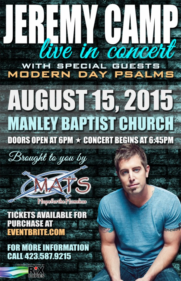 Jeremy Camp Poster 2015 Manley to beneift MATS