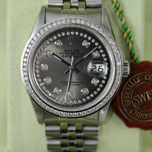 die Rolex Datejust mit Diamantlünette aus Edelstahlt