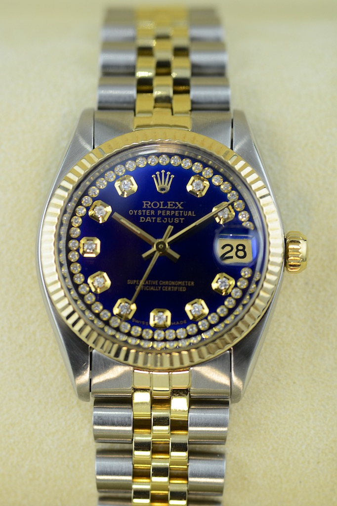 rolex lady 31 datejust midsize mit 54 diamanten in 18k gold stahl couture watch rolex. Black Bedroom Furniture Sets. Home Design Ideas