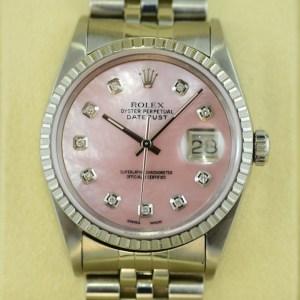 Rolex Datejust mit rosa Plermutt Zifferblatt mit Diamanten
