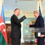 WASHINGTON, USA - MARCH 30: Azerbaijani President Ilham Aliyev (L) meets US Secretary of State John Kerry (R) prior to Nuclear Security Summit in Washington, United States on March 30, 2016. (Photo by Muhammed Bilal Kenasari/Anadolu Agency/Getty Images)