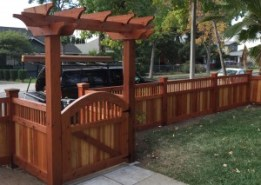 Custom Heart Redwood Arbor, gate and fence.