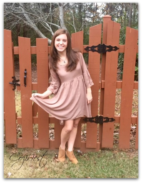 Light Brown Dress with Ankle Boots