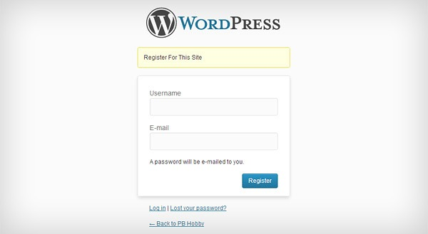Default WordPress User Registration