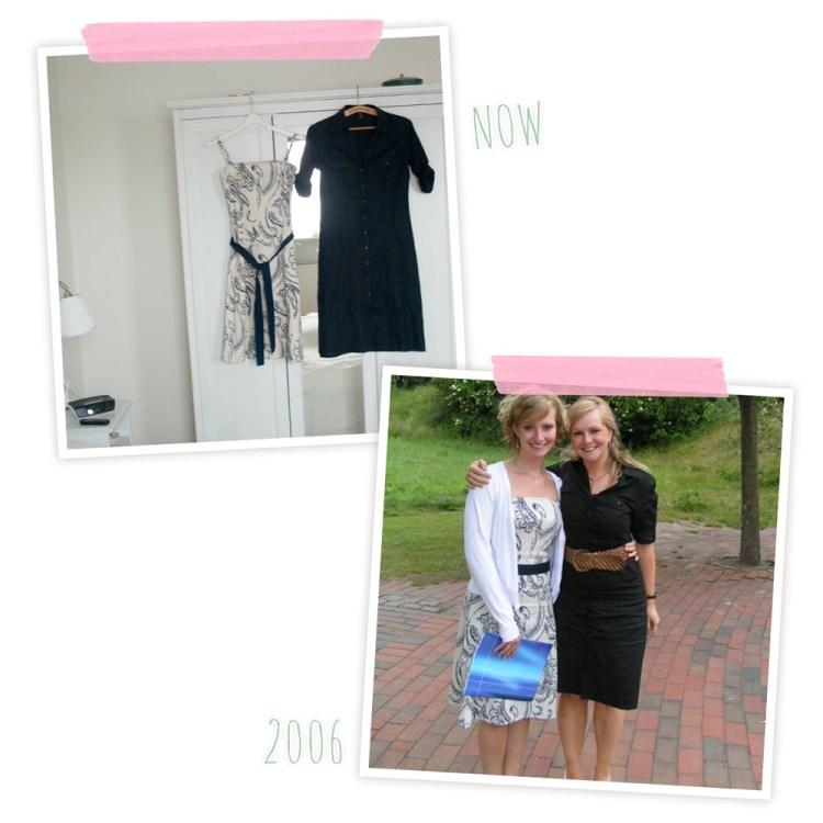 *hach* Beide Kleider gehören mir und gehörten damals zu meinen absoluten Lieblingskleidern. Damals war 36/38... Ich habe sie immer noch aufgehoben, in der zarten Hoffung vielleicht ...doch..noch... mal...irgendwann... ???  Alles andere aus der Zeit habe ich bereits entsorgt, aber die hier, die gingen nicht ;-)