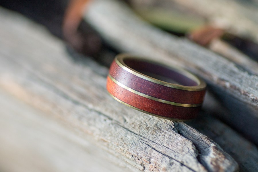 Bloodwood and brass ring