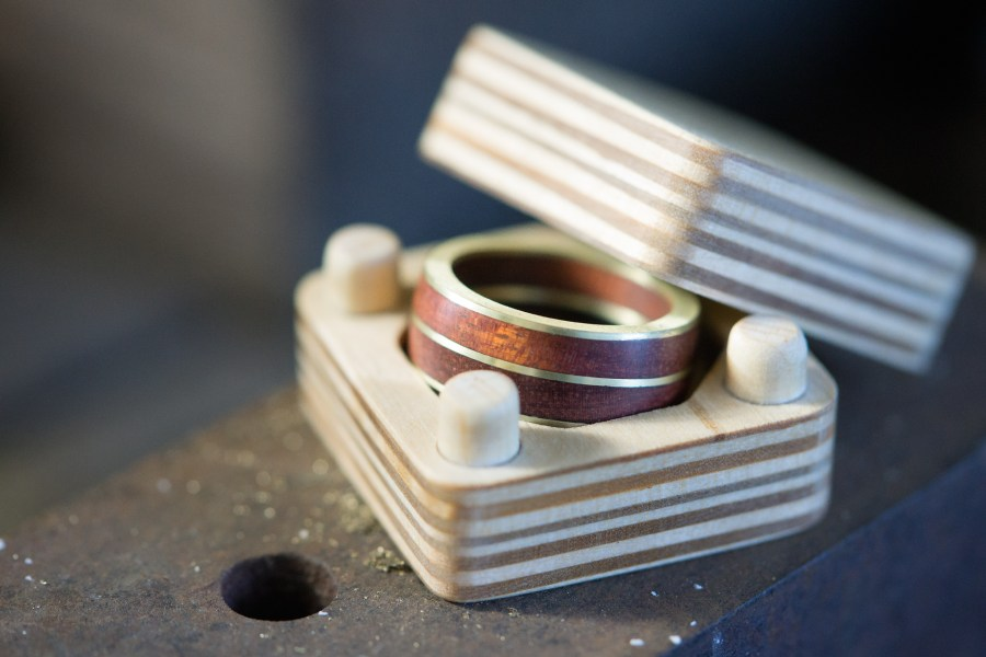 Brass and bloodwood ring