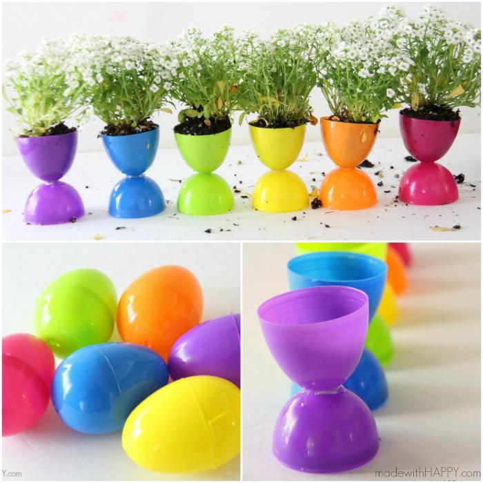 Rainbow Easter Egg Flower Pots