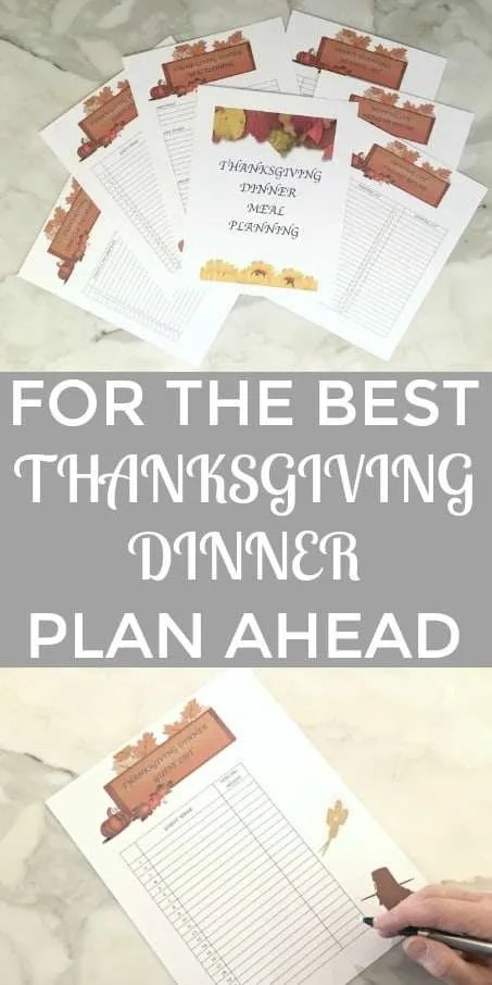 Thanksgiving Dinner Menu Planning Printables