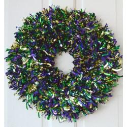Nice Metallic Tinsel Pgg Metallic Tinsel Mardi Gras Sam S Club Mardi Gras Wreath Mardi Gras Bead Wreath Tutorial