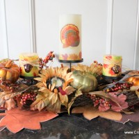 Embellished Decoupaged Thanksgiving Candles Tutorial (#TurkeyTableScapes)