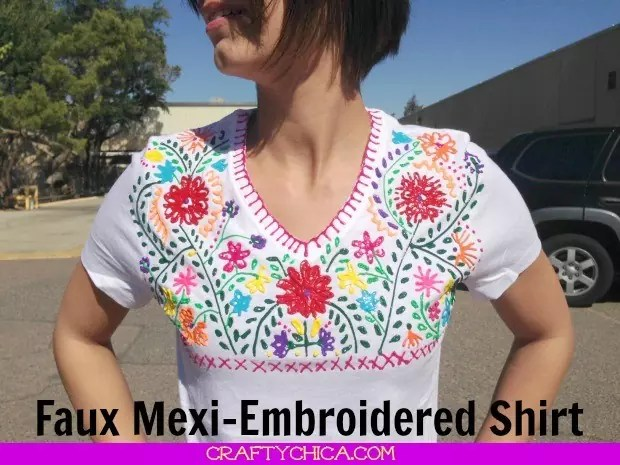 Faux mexi embroidered shirt crafty chica