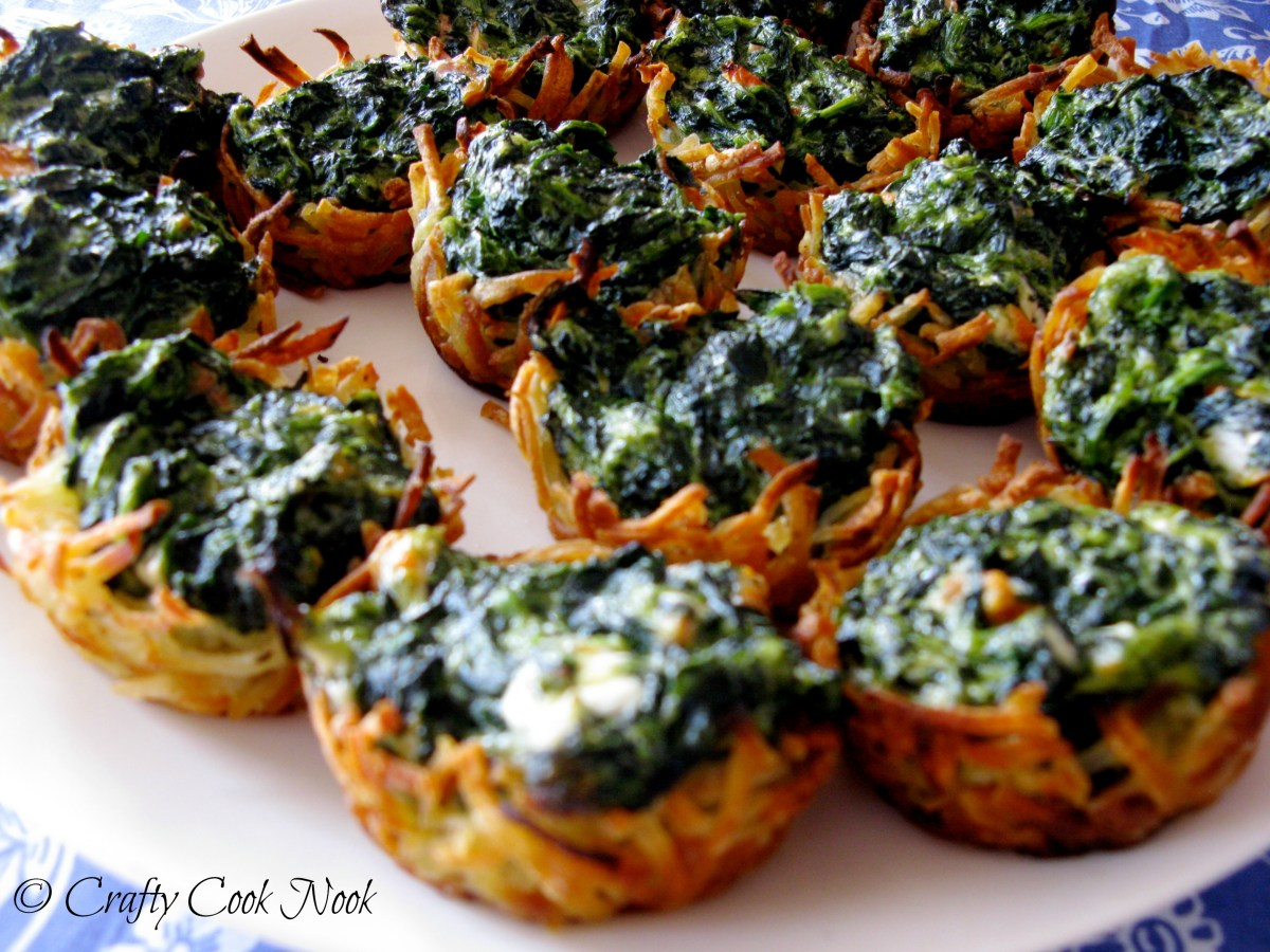 Winning Winter Party Appetizer: Spinach and Goat Cheese Hash Brown Nests