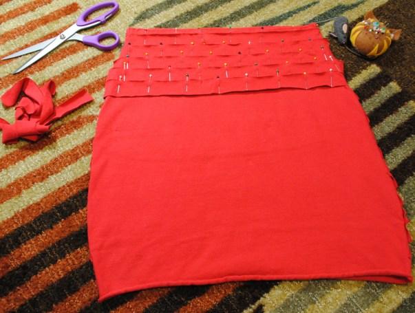 DIY Bandage Skirt pinning strips to back