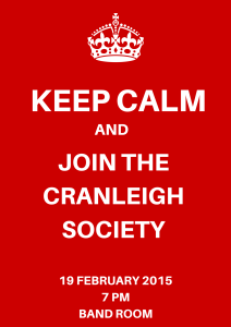 Keep Calm and Join the Cranleigh Society Poster