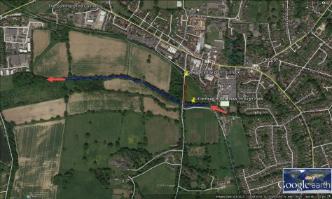 map of raw sewage entering watercourse in Cranleigh