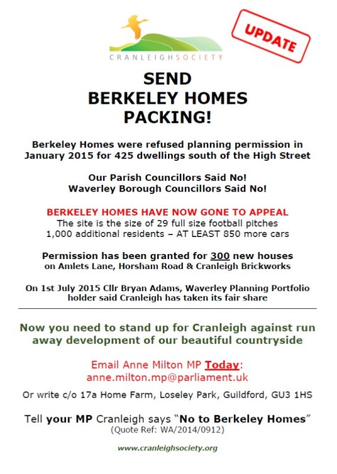 Poster Cranleigh Says NO to Berkeley Homes Appeal