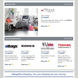 Featured offers from United MileagePlus Shopping