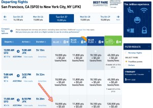 JetBlue San Francisco to New York One Way Redemption