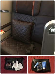 Singapore Airlines First Class Seating and Amenity Kits